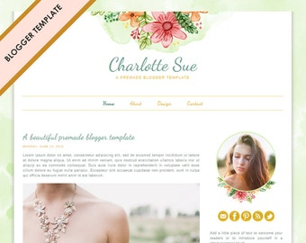 Blogger Template - Premade Blog Design - INSTANT DOWNLOAD - Charlotte Sue Theme