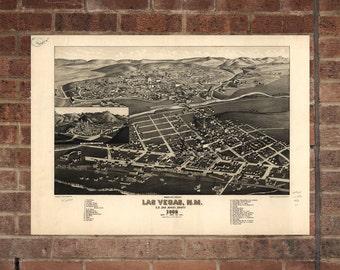 Las Vegas NV  Vintage Print Poster Map in 1882