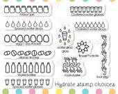 Hydrate stamps for planners