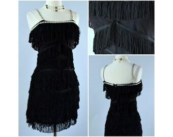 vtg 60s black handmade flapper dress ⟢ vintage 1960s black full fringe mini dress ⟢ vintage 60s flapper fringe dress