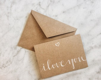 I Love You Card - I Love You with Heart Card - Calligraphy