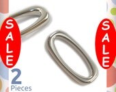 """1-1/2 Inch Squared Oval O Rings, Nickel Finish, 2 Pieces, Handbag Purse Bag Making Hardware Supplies, 1-1/2"""", 1.5"""",  1.5 Inch, RNG-AA140"""