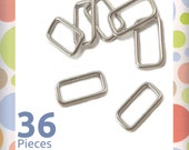 "1 Inch Rectangle Wire Loops / Rings, Nickel Finish, 36 Pieces, Purse Handbag Bag Making Hardware Supplies, Rectangular, 1"", RNG-AA011"