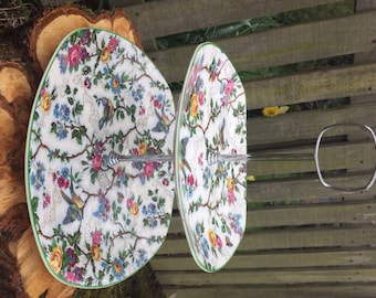 Beautiful 'Lorna Doone Chintz' blue bird and floral design, 2 tiers cake stand by Midwinter Staffordshire