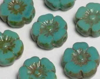 6pcs Green Turquoise Flower Beads - Hawaiian Flower Beads - Czech Glass Beads - Boho Bohemian - 10mm Beads - BB68