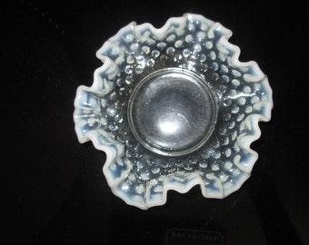 Vintage Mid Century Fenton white hobnail glass bowl with opalescent rim crimped edges