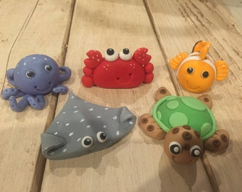 Under the Sea Creatures (5 total fondant totppers)