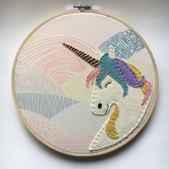 Embroidery hoop art unicorn wall nursery room decor