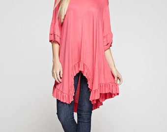 Solid Ruffle Tunic Top