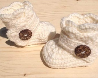 Baby booties wrap around buttons( coco shell)  ivory