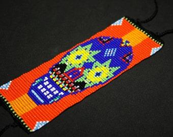 Orange Sugar Skull Bracelet, Day of the Dead Bracelet, Dia de Los Muertos Bracelet, Huichol Bracelet, Mexican Skull Bracelet, Cool Jewelry
