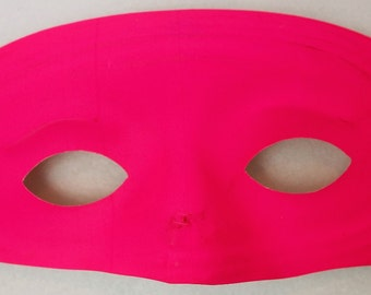 Vintage Neon Pink Domino Mask Halloween Super Hero Costume  Gala