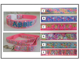 Lilly Pulitzer Inspired Dog Collar and Leash