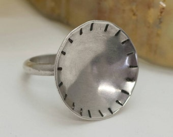 Sterling silver concave tribal ring