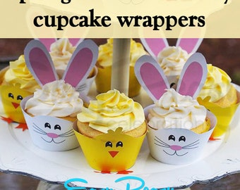 Spring Chicks and Bunny Cupcake Wrappers