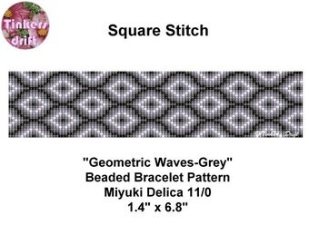 Geometric Waves in Grey Square Stitch Beaded Bracelet Pattern