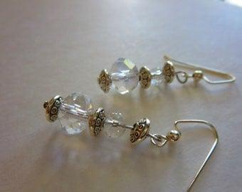 Silver and glass earrings, classic earrings, vintage like earrings