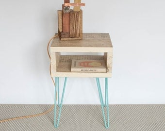 Hannah Side Table | Reclaimed Wood Side Table | Small Table | Bespoke Furniture | Coloured Hairpin Legs | Scandinavian