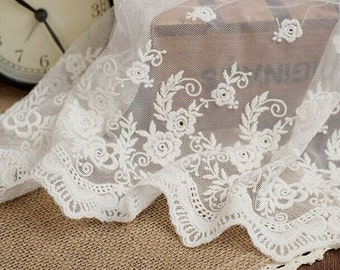 White embroidery Lace,Women Shawls Lace,weddings Lace,Lace Trim,Lace dress,Doll dress,Wedding Gown,11.8 inches wide 1 yards, MS95