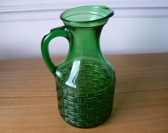 Stunning Green Glass Carafe/Water Jug with Basket Weave Decoration.