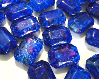 Freckled ROYAL BLUE Beads - Octogon 24x16mm Large faceted acrylic nugget beads for bangle or jewelry making