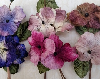 velvet pansies by Miss Rose Sister Violet. pansies. millinery flowers. velvet flowers. velvet pansies. vintage pansies. scrapbooking flowers