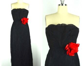 SALE Vintage 1950s Dress / 50s Black Lace Gown / Medium
