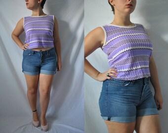 Vintage 60s Purple Crop Top 70s Crop Top 70s Tank Top Sleeveless Shirt Mid Century Blouse 60s Mod Top Preppy Tank Top Summer Beach Blouse