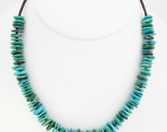 """ON SALE Turquoise Necklace Beaded 16.5"""" Navajo Native American"""