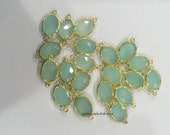 Wholesale - Aqua Chalcedony Connector - Bezel - Gemstone Connectors - Gold Plated - Oval - Stone Size 10X14mm (CT-05)