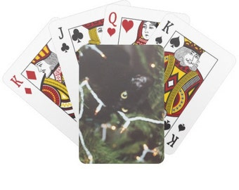 Cute Poker deck - Photo of a Black Kitten in a Christmas tree on back of deck