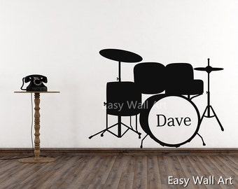 Custom Name Drum Wall Decal - Monogram Decal - Personalized Name Vinyl Wall Decal Children Name With Drum Wall Decal Drum Wall Lettering #C6