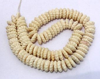 10 Pcs 16mm White Carved Beads Natural Bone Rondelle Beads 16mm Handmade Bone Beads, 10 Loose Rondelle Bone Beads, Destash BB16