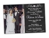 Silver Anniversary Party Invitations - Chalk Style 25th Anniversary Invitations - 25th Wedding Anniversary Party Invite - Photo Invitations