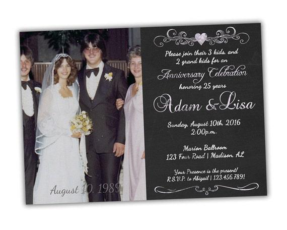 25th Wedding Invitations: Silver Anniversary Party Invitations Chalk Style 25th