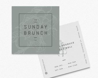 Sunday // Square Premade Business Card, Botanical, Modern, Cafe, Restaurant, Blog, Food, Business Card Designs, Illustration, Bakery Logo