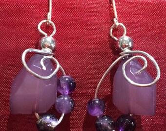 Lavendar, amethyst handmade earrings