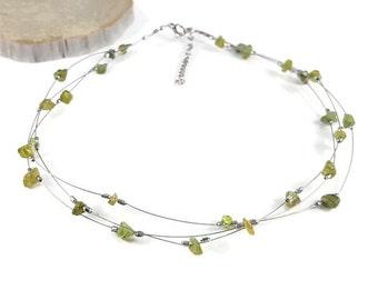 Peridot necklace, silver choker necklace, genuine peridot jewelry, handmade necklace choker, green crystal jewelry, crystal necklace trysna