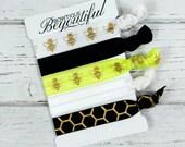 Bee Hair Tie Set - Elastic Hair Ties - Hair Tie Bracelet - Creasless Tie - Hair Band - Ribbon Hair ties - Scrunchie - Hair Accessories
