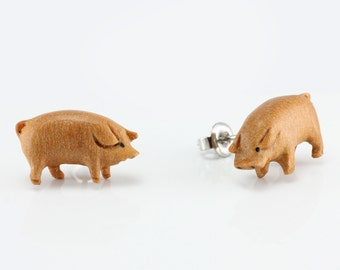 "Hand Carved - ""Piggy"" - Sabo Wood with Ebony Wood Inlay Stud Earring - Farm Life"