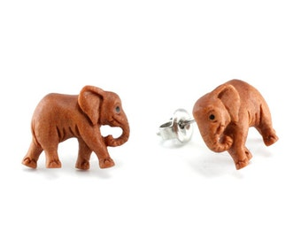 "Hand Carved - ""Elephant"" - Wood Stud Earring - African Safari"