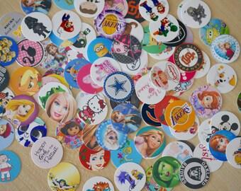 """25, 50 or 100  Assorted Lot Pre-Cut 1"""" Bottle Cap Images, Mix Bottle Cap Images ready to use ,Shopkins, Disney princess, Frozen etc..."""