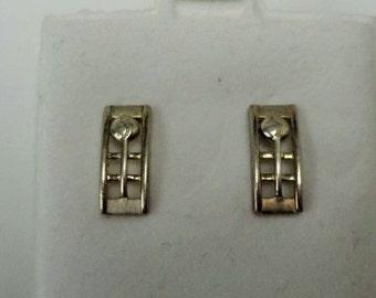 Vintage Sterling Silver Mackintosh Flower Post Earrings Stud Earrings Jewelry