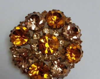 Large rhinestone brooch smoky golden tea color