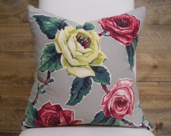 Vintage Floral Cabbage Rose Print Pillow - Grey Red Chartreuse Lime