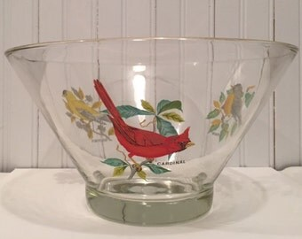 "West Virginia Glass Company ""American Song Bird"" Large HEAVY Bowl"