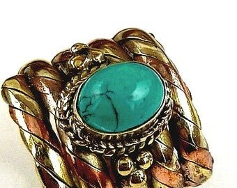 RING Tibetan copper turquoise ring zen meditation Buddhism ref 5097