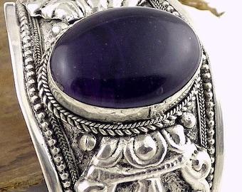 BRACELET AMETHYST Tibetan dorje vajra Buddhist jewelry natural stone stone of protection ref 02