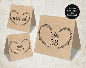 Wedding Table Numbers Template, Vintage Heart Wreath Wedding Table Numbers 1-40, Reserved and Head Table Signs, Tent Style, 5x5 Folded