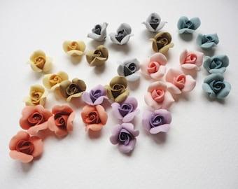 5 CLASSIC ROSE CABOCHON, cold porcelain rose, handmade clay rose, tiny rose cabochon, porcelain rose, flower cabochon, handmade clay flower